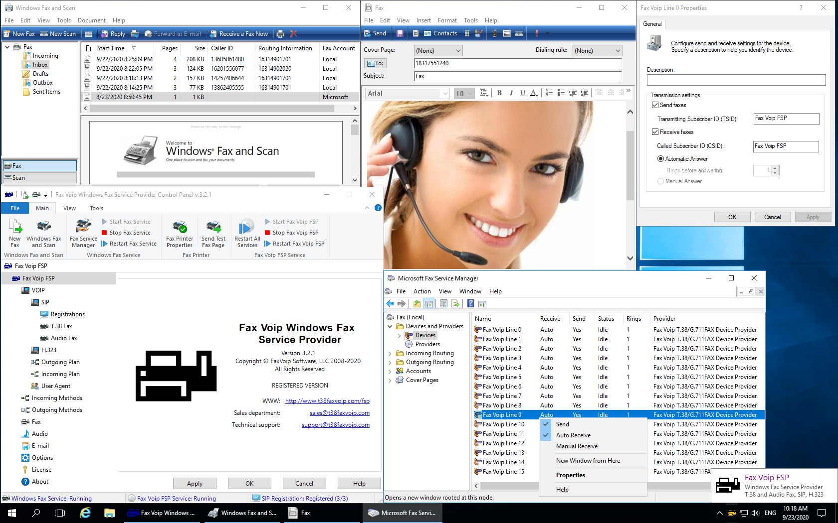 Enables Microsoft Fax and Windows Fax and Scan, which are built right into Windows, to send and receive T.38 and audio (over G.711 codec) faxes using VoIP (SIP or H.323). Mail to Fax. Routing Extension: E-mail, Store in folder, Print, Custom.