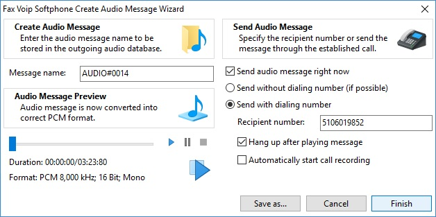 Create Audio Message