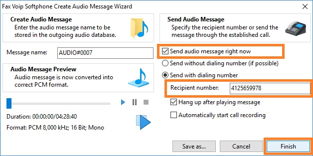Fax Voip Softphone Create Audio Message Wizard